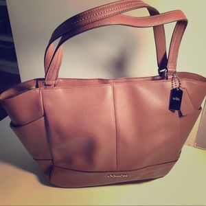 Coach Leather Carrie Tote in Dusty Rose